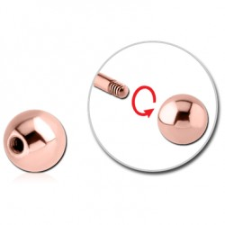 Rose Gold Plated Surgical Steel External Thread Ball