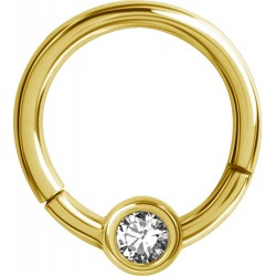 16g Gold Plated Surgical Steel Hinged Segment Jewelled CBR