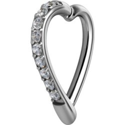 14g Surgical Steel Jewel Edged Heart Hinged Ring