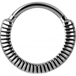 Surgical Steel Textured Design Hinged Segment Ring