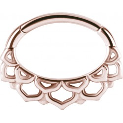 Rose Gold Plated Surgical Steel Flower Petal Design Hinged Daith Clicker