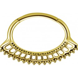 Gold Plated Surgical Steel Fanned Design Hinged Daith Clicker