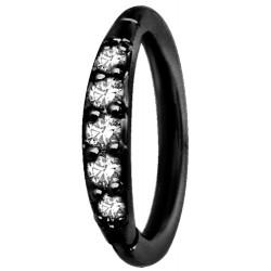 Black Surgical Steel Partial Side Gem Hinged Segment Ring