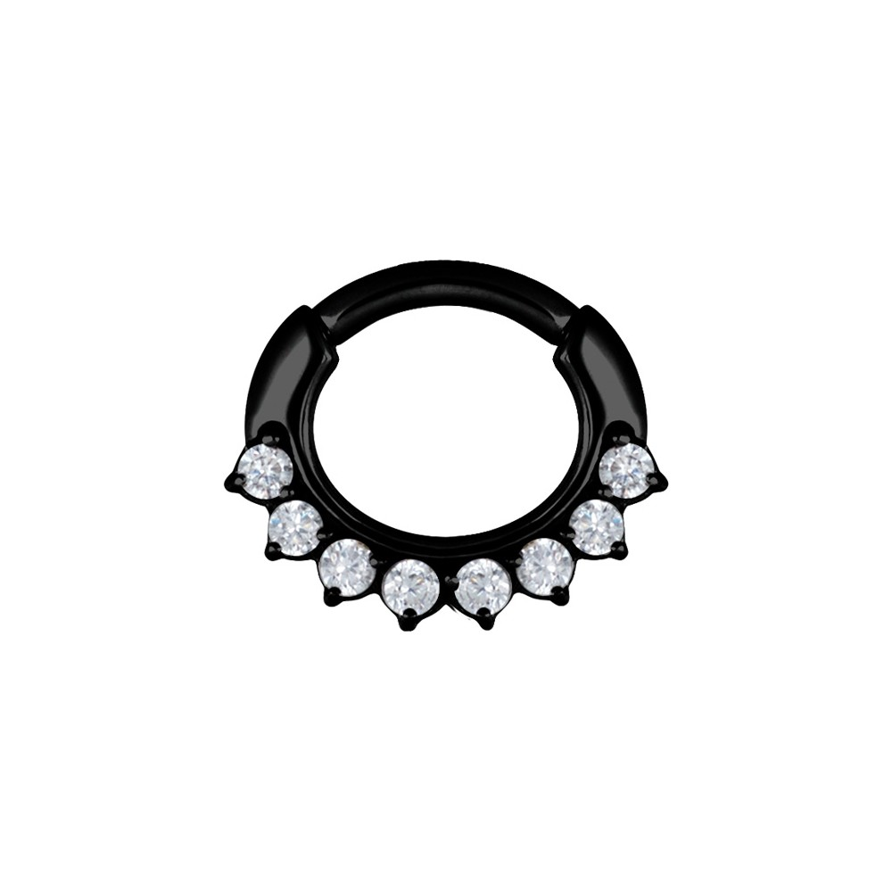 Black Surgical Steel Claw Set Jewelled Hinged Clicker