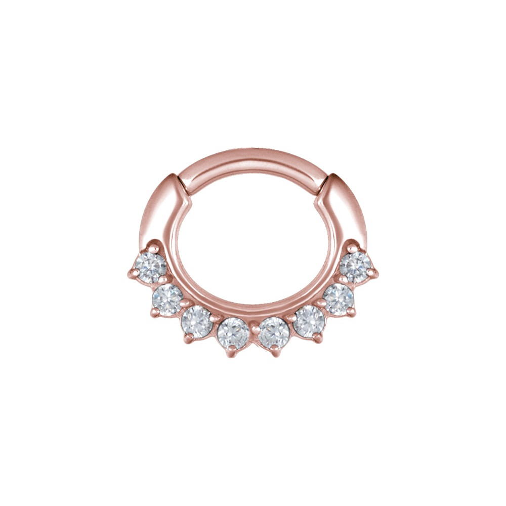 Rose Gold Plated Surgical Steel Claw Set Jewelled Hinged Clicker