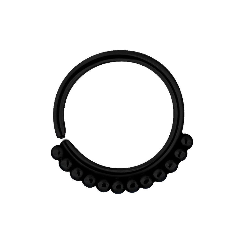 Black Surgical Steel Ball Design Continuous Ring