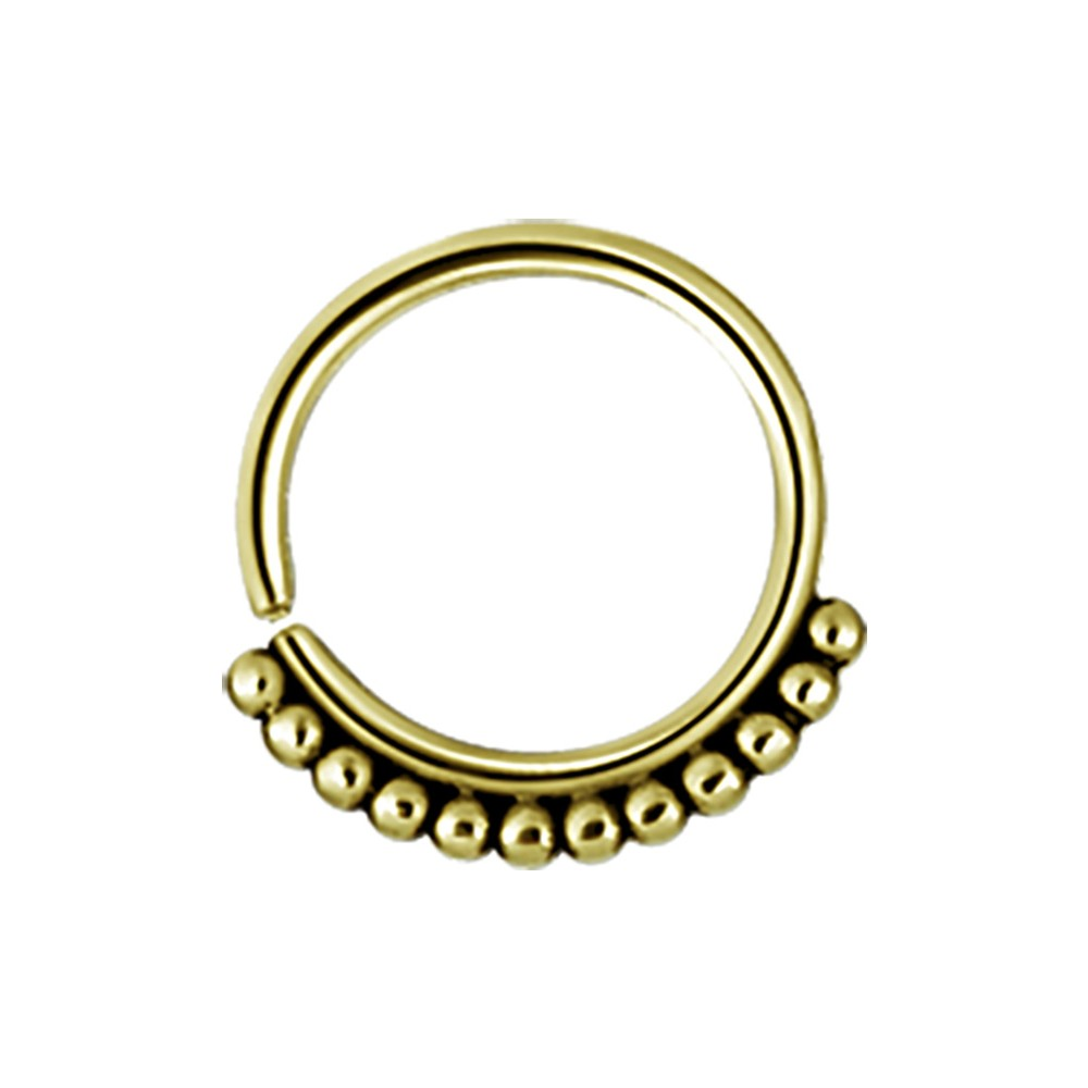 Gold Plated Surgical Steel Ball Design Continuous Ring
