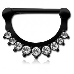 Black Surgical Steel Claw Set Jewelled Nipple Clicker