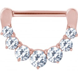 Rose Gold Plated Surgical Steel Claw Set Gem Nipple Clicker