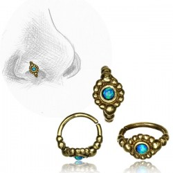 Brass Nose Hoop with Blue Opal Stone