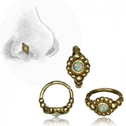 Brass Nose Hoop with White Opal Stone