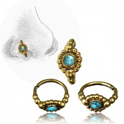 Brass Nose Hoop with Turquoise Stone