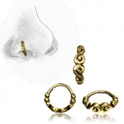 Brass Nose Hoop with Swirl Design