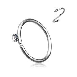 Surgical Steel Continuous Nose Hoop with Gem