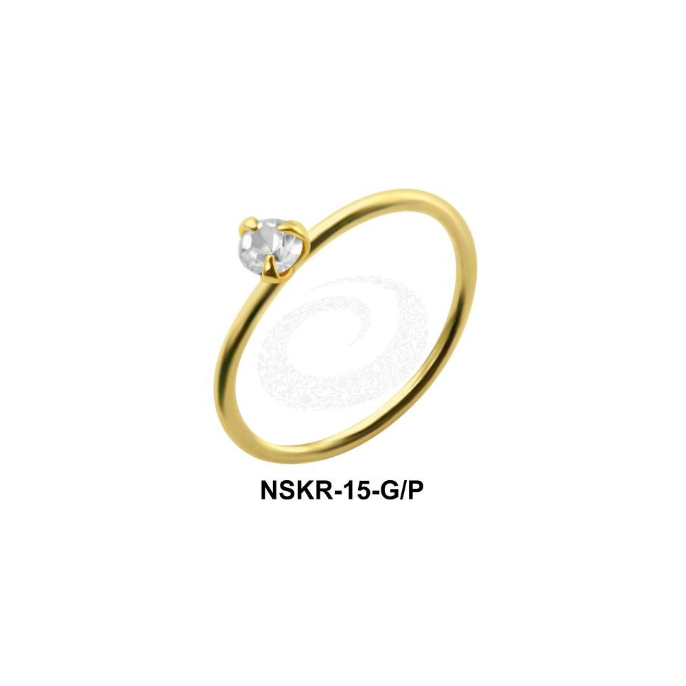 Gold Plated 925 Sterling Silver Continuous Nose Hoop with 3 Prong Claw Set Gem - 22g & 20g