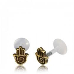 16g Bioplast Labret with Internal Brass Hamsa for Ear Cartilage or Tragus