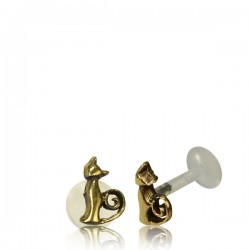 16g Bioplast Labret with Internal Brass Cat for Ear Cartilage or Tragus