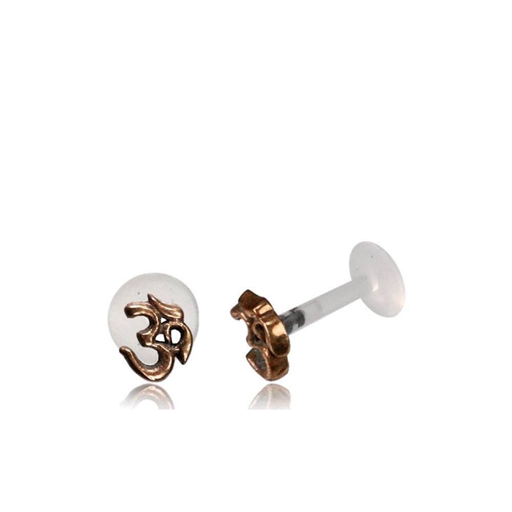 16g Bioplast Labret with Internal Rose Bronze Brass Ohm Symbol for Ear Cartilage or Tragus