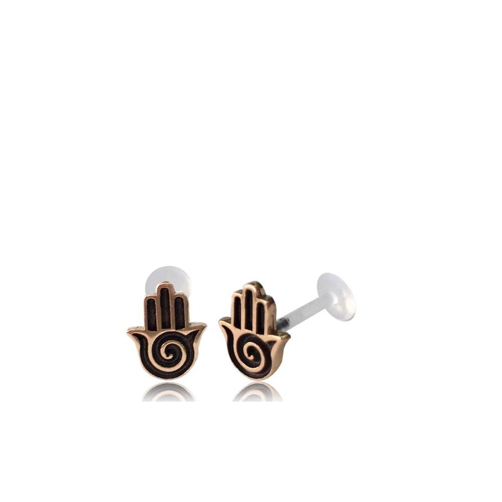 16g Bioplast Labret with Internal Rose Bronze Brass Hamsa for Ear Cartilage or Tragus
