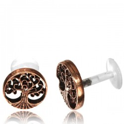 16g Bioplast Labret with Internal Rose Bronze Brass Tree of Life for Ear Cartilage or Tragus