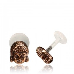 16g Bioplast Labret with Internal Rose Bronze Brass Buddha for Ear Cartilage or Tragus