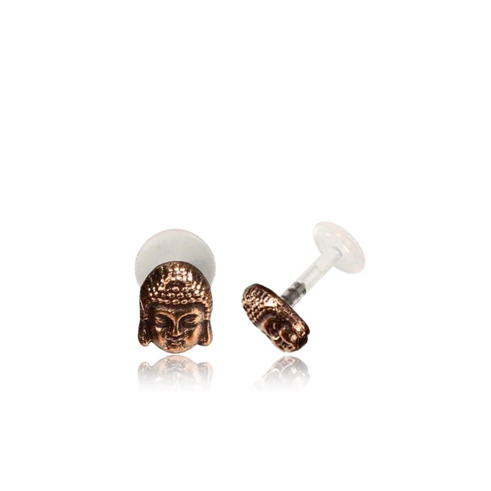 16g Bioplast Labret with Internal Rose Bronze Brass Buddha for Ear Cartilage or Tragus