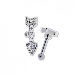 16g Surgical Steel Jeweled Arrow Ear Cartilage Barbell