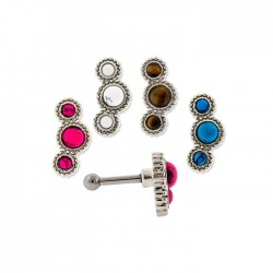 16g Surgical Steel Triple Stone Ear Cartilage Barbell