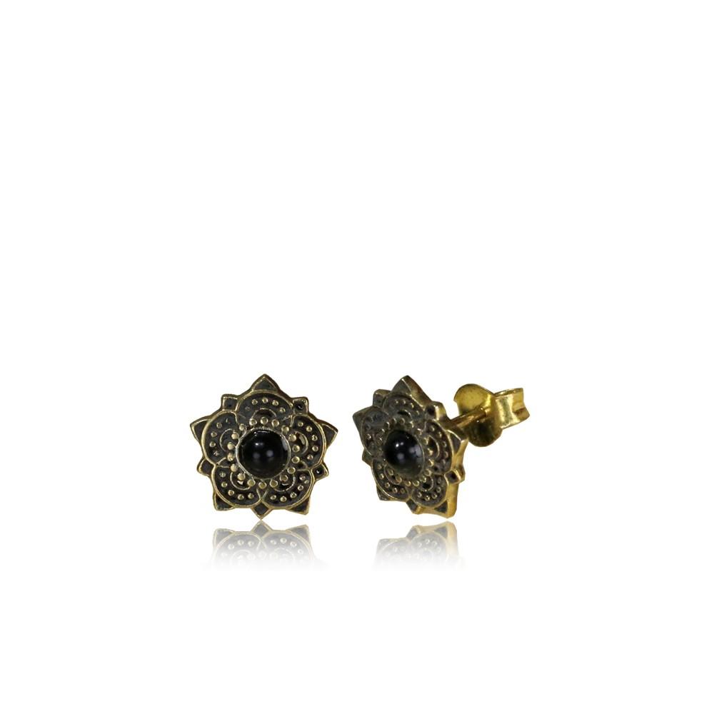 18g Brass Ear Studs with Stone