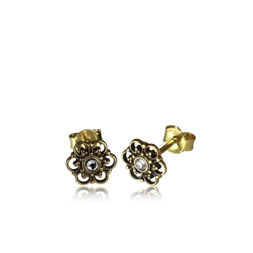 18g Brass Ear Studs with Stone
