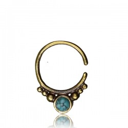 16g Brass Septum Jewelry with Synthetic Stone