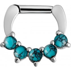 16g & 14g Surgical Steel Turquoise Stone Septum Clicker