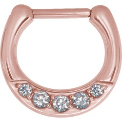16g & 14g Rose Gold Plated Surgical Steel Round Multi Jewelled Septum Clicker