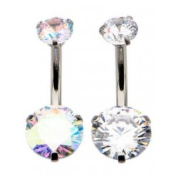 14g Internal Thread Surgical Steel Double Gem Belly Butto Ring