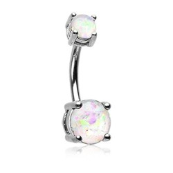 14g Surgical Steel Double Claw Set Opal Belly Button Ring