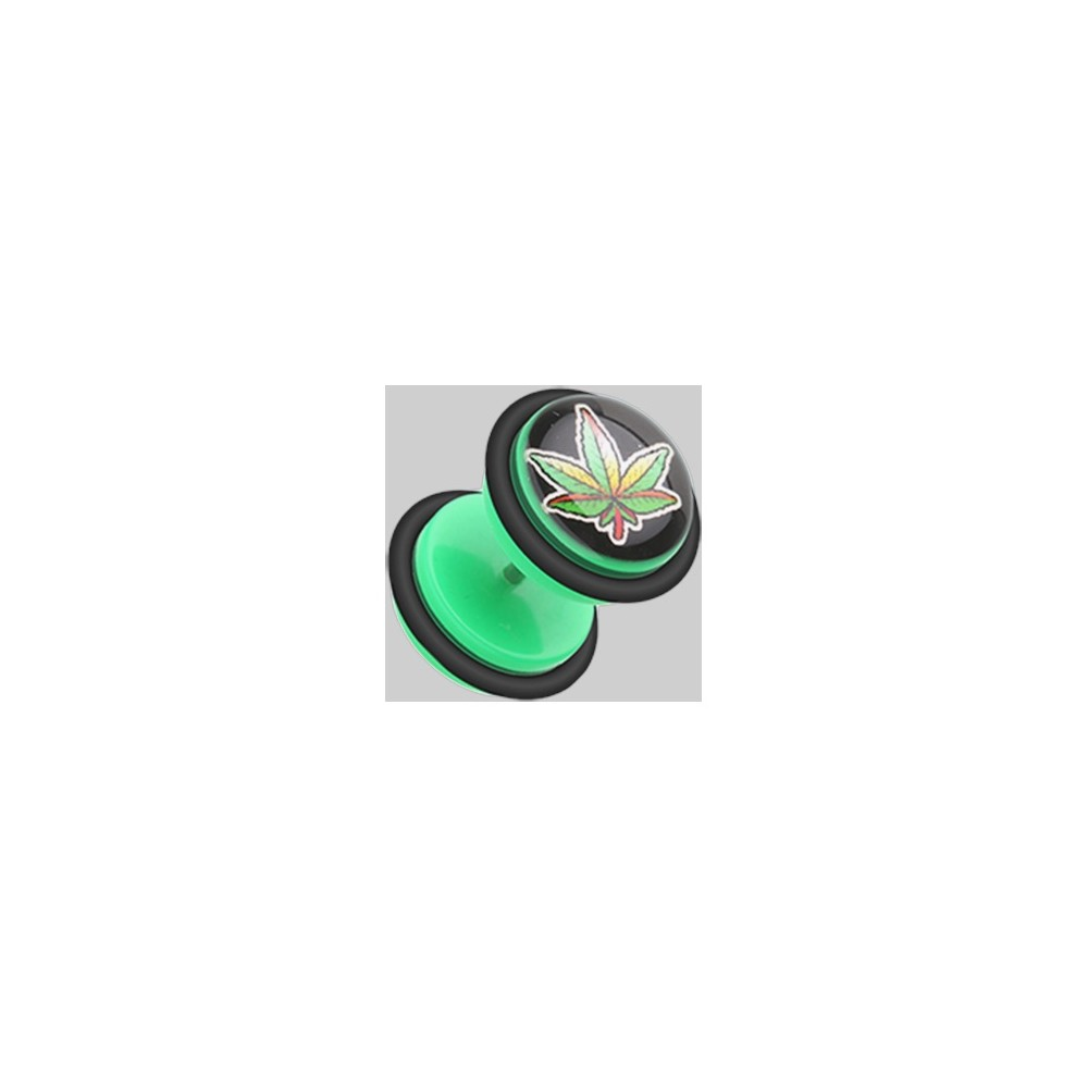 16g Acrylic Marijuana Leaf False Plugs With Orings