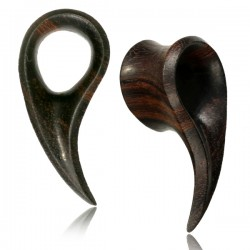Arang Wood Ear Tunnels with Carved Long Side Piece