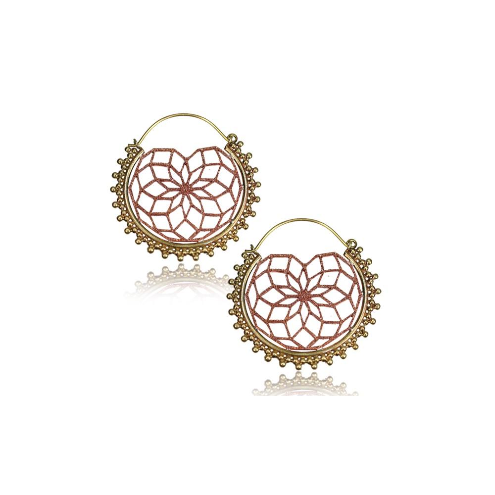 18g Brass with Rose Bronze Dangle Plug Hoop Earrings