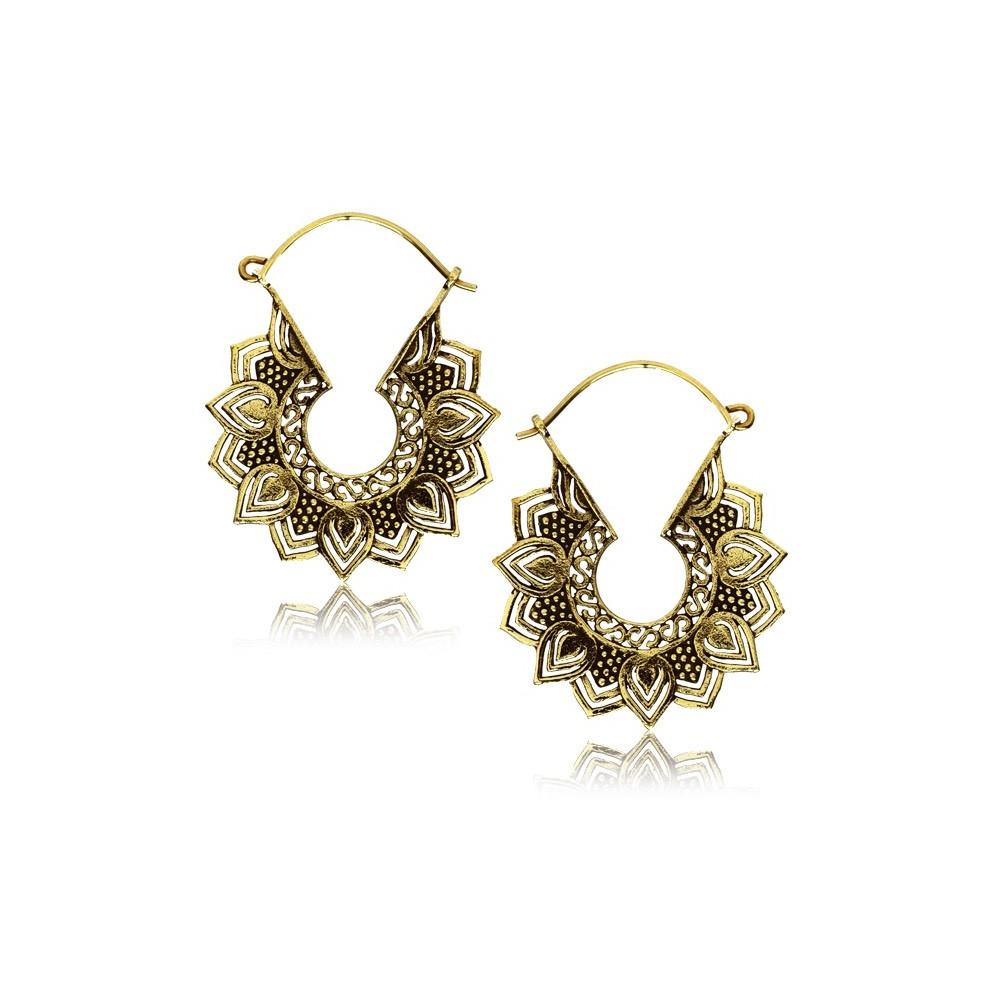 18g Brass Dangle Plug Hoop Earrings