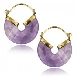 18g Brass & Amethyst Stone Dangle Plug Hoop Earrings