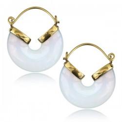 18g Brass & Opalite Stone Dangle Plug Hoop Earrings
