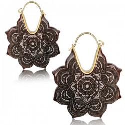18g Brass & Tamarind Wood Dangle Plug Hoop Earrings