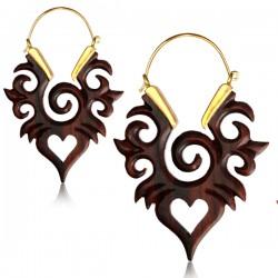 18g Brass & Narra Wood Dangle Plug Hoop Earrings