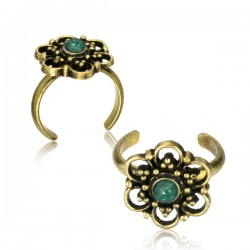 Brass Toe Ring with Jade Stone