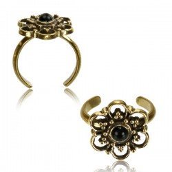 Brass Toe Ring with Black Onyx Stone