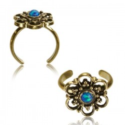 Brass Toe Ring with Blue Opal Stone