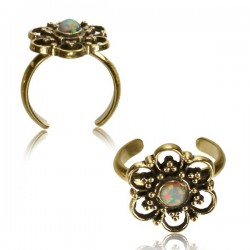 Brass Toe Ring with White Opal Stone