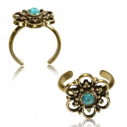 Brass Toe Ring with Turquoise Stone