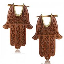 Brass & Sawo Wood Hamsa Pin Earrings