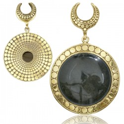 Brass Ear Weights with Large Dangling Black Obsidian Stone